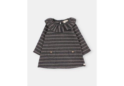 Buho Buho - Baby soft rib dress stripes anthracite