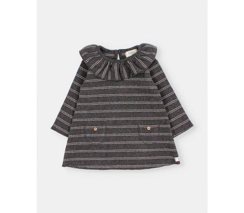 Buho - Baby soft rib dress stripes anthracite