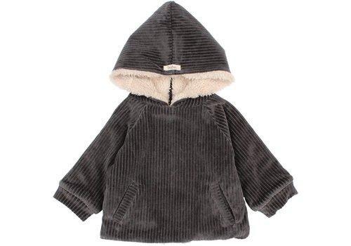 Buho Buho - Knit velour jacket antracite