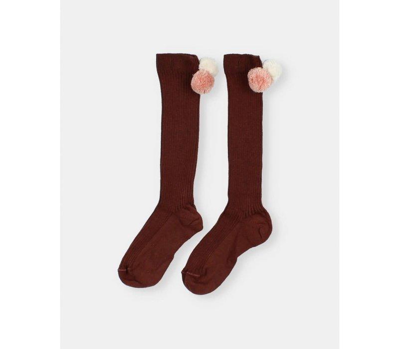 Buho - Pom pom rib socks hazel