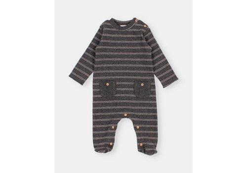 Buho Buho - Soft rib jumpsuit stripes anthracite