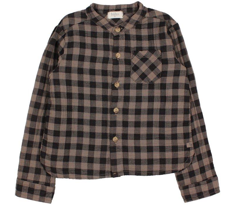 Buho - Vichy pocket shirt taupe