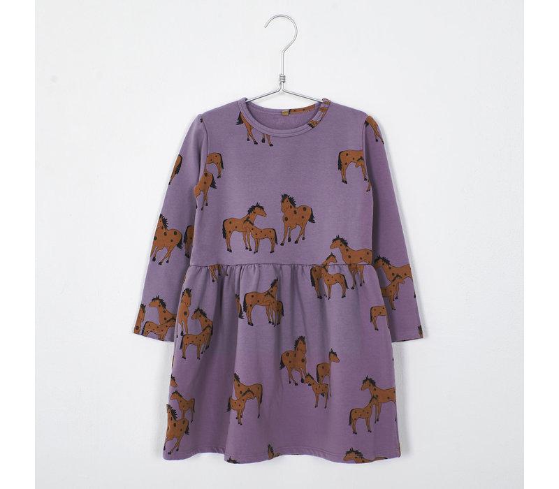 Lotiekids - Dress waist seam horses lilac