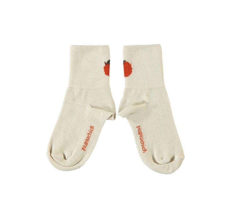 Piupiuchick - Short socks ecru w/ peach |