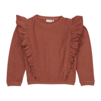 Blossom kids - Volant sweater Deep Coral