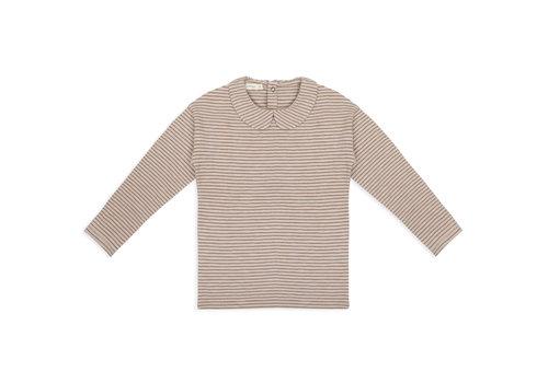 Phil&Phae Phil & Phae - Collar tee l/s stripes chestnut