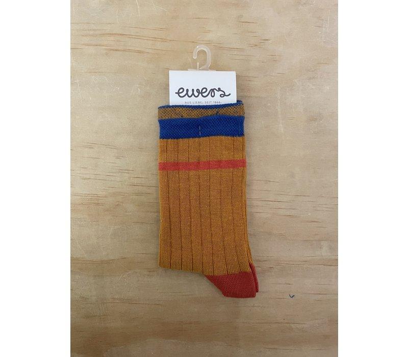 Ewers - Socks Rib Streep 1640 oker
