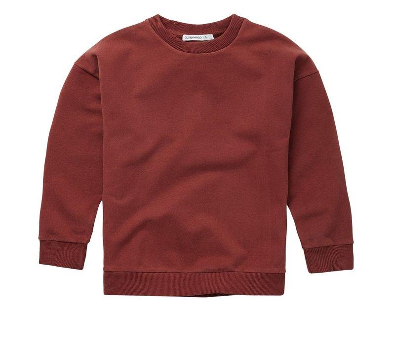 Mingo - Sweater brick red sweat brushed
