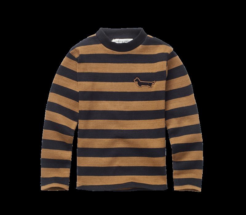 Sproet & Sprout - T-shirt turtleneck stripe mustard black