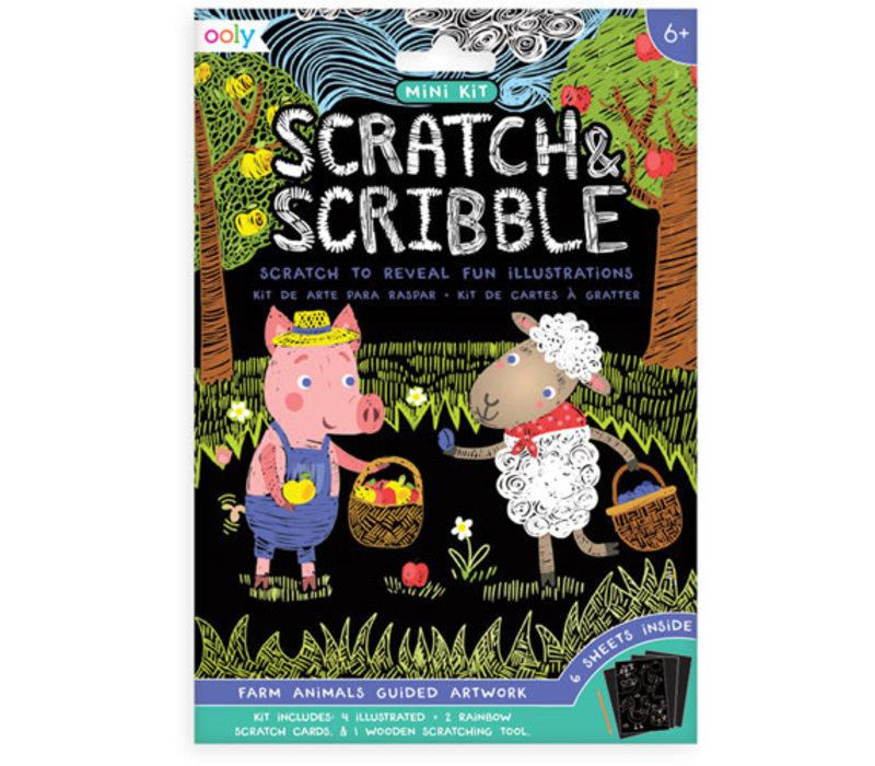 Ooly - mini scratch & scrabble Farm Animals