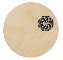 DEKORANDO - Фанера | сервировочная тарелка | Орнамент (уголок) Натуральный- 36cm