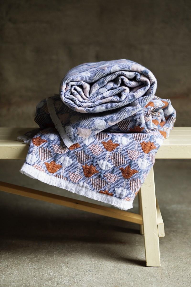 TULPAPAANI - Wolle/Leinen Decke - 130x240