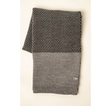 WOOLISH, Fishbone, Wollen Plaid light grey/charcoal grey, 130 x 170