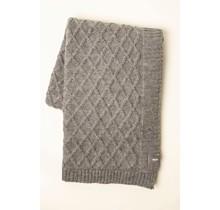 WOOLISH, Rhombe, Plaid en laine gris clair, 130 x 170