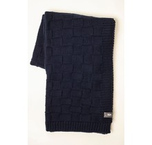 WOOLISH, Square, Wollen Plaid navy blue, 130 x 170