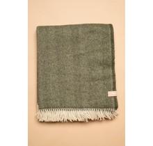 WOOLISH, Fishbone Green, Шерстяной плед, зеленый, 130 x 170
