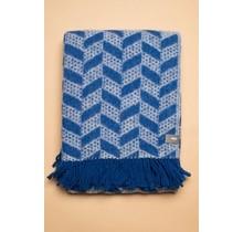 WOOLISH, Cuppra, Wollen Plaid blauw wit, 130 x 170