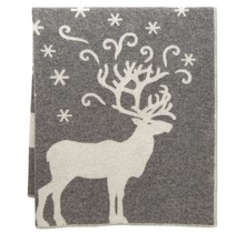 VALKKO - Wool Blanket - Grau-Weiss - 130x180
