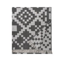 HUVILA - Merino Wolldecke - Grau/Schwarz - 150x170