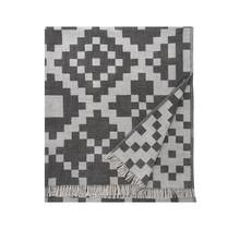 HUVILA - Plaid en laine mérinos - Gris / Noir - 150x170