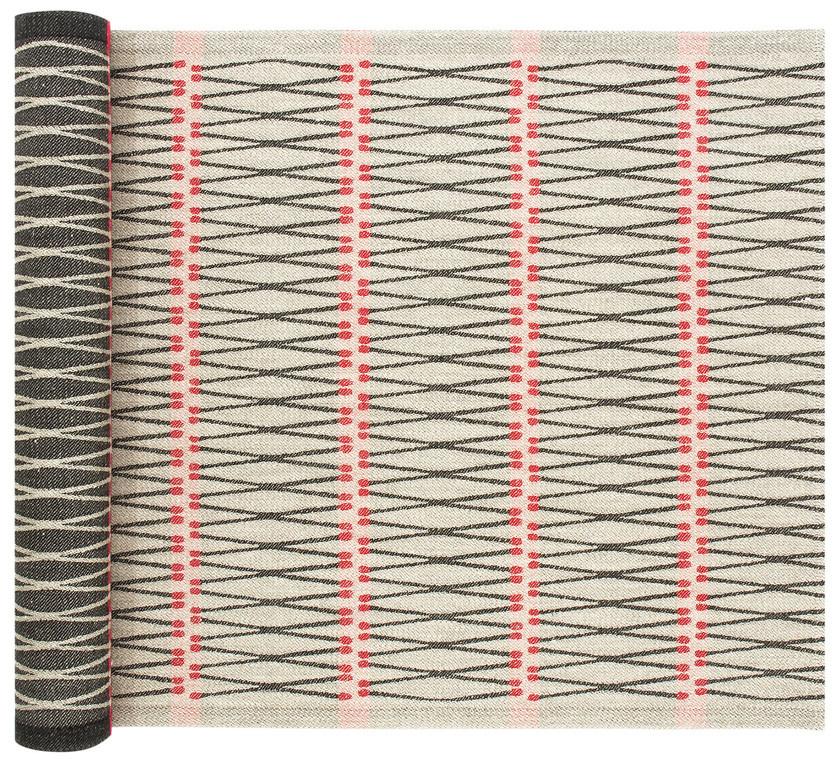 TULITIKKU - Sauna Seat Cover - Linnen/Zwart/Rood - 46x60