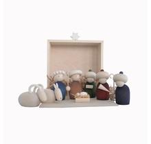 Kerstkribbe - in houten kistje 21x26