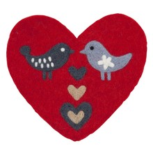 LOVE BIRDS - Pot onderzetter - Hartvorm - 21x20