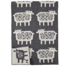 SHEEP - Plaid en laine - Gris / Blanc - 130x180