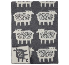 SHEEP - Wolldecke - Grau/Weiss - 130x180