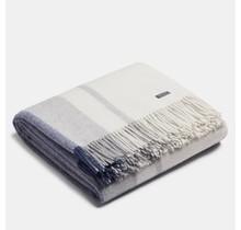 ALPAKA  - Классическая клетка - Шерстяной плед из альпаки - Синий / Серебристый - 150 x 200