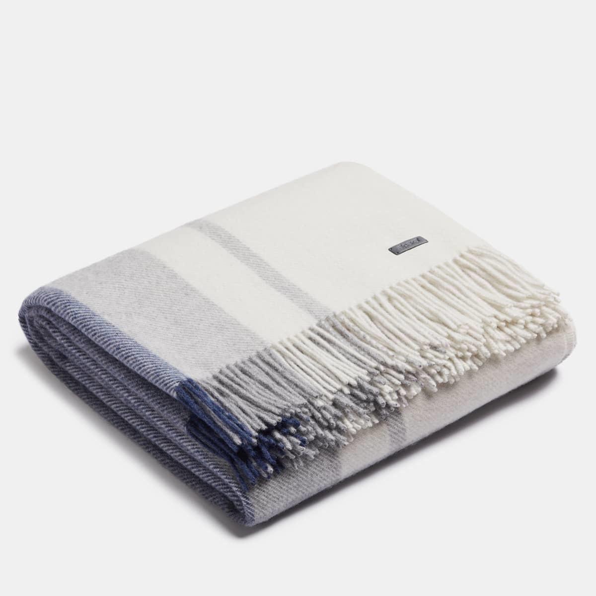 ALPAKA - Classic Check - Plaid en laine d'alpaga - Bleu / Argent - 150 x 200
