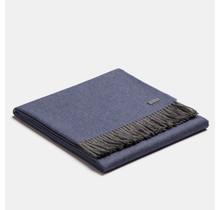 ALPAKA, Exclusive Fishbone, Alpaca-Wolldecke - Blauw/Grau - 130x200