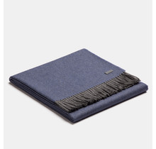 ALPAKA, Exclusive Fishbone, Alpaca-wollen Plaid - Blauw/Grijs - 130x200