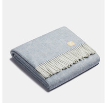 ALPAKA - Classic Fishbone - Alpaca-woolen Plaid – Steelblue/White – 150x200