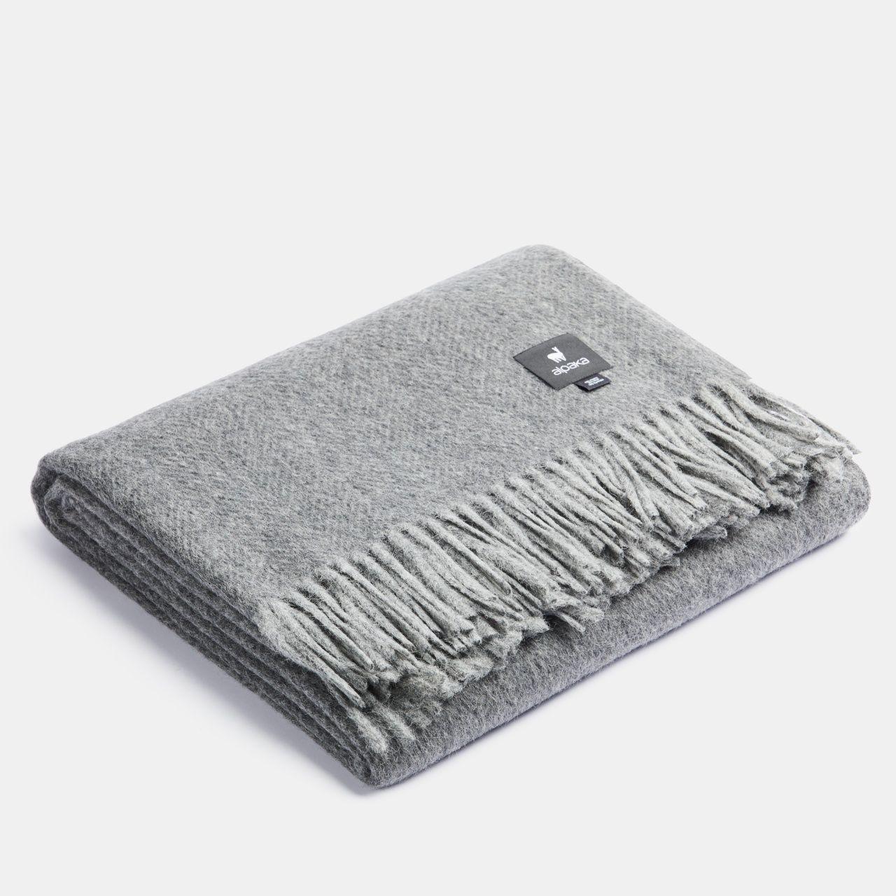 ALPAKA - Classic Fishbone - Alpaca-woolen Plaid – Charcoal/Grey – 150x200