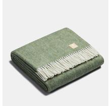 ALPAKA - Classic Fishbone - Alpaca-wollen Plaid – Groen/Wit – 150x200
