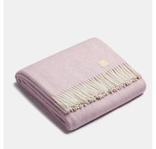 ALPAKA - Classic Fishbone - Alpaca-Wolldecke – Pink/Weiss – 150x200