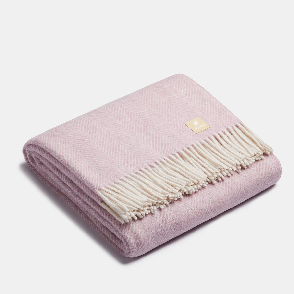 ALPAKA - Arête de poisson classique - Plaid en laine d'alpaga - Rose / Blanc - 150x200