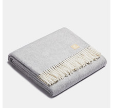 ALPAKA - Classic Fishbone - Alpaca-wollen Plaid – Zilver/Wit – 150x200