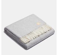 ALPAKA - Классическая рыбья кость - Плед из шерсти альпака - Серебро / Белый - 150x200