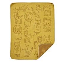 BUDDIES - Couverture pour bébé en coton - Jaune - 70x90