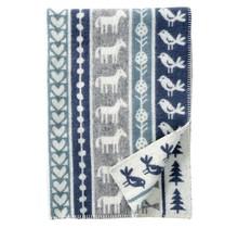NATURE - Couverture pour enfant en laine - Gris / Bleu - 90x130