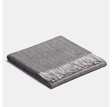 ALPAKA, Exclusive Fishbone, Alpaca-Wolldecke - Holzkohle/Silber - 130x200