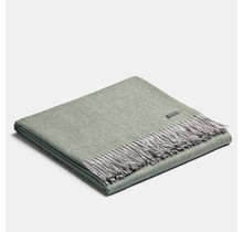 ALPAKA, Exclusive Fishbone, Alpaca-Wolldecke - Flechtegrün/Silber - 130x200