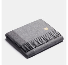 ALPAKA - Классический квадратный градиент - Шерстяной плед из альпаки - Серый - 150 x 200