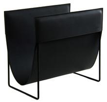 Finnish design magazine rack made of fine black leather