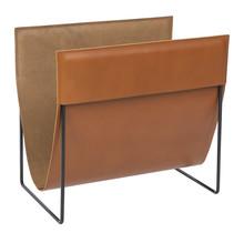 Finnish design magazine rack made of fine brown leather