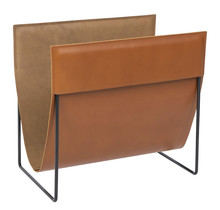 Полка для журналов финского дизайна из тонкой коричневой кожи