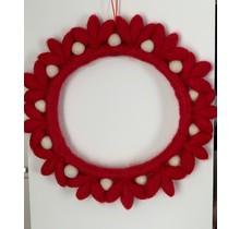 DEKORANDO - новогоднее украшение   венок из цветов   красный Белый