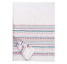 WATAMU - Tablecloth / Summer Blanket - Linen - grey/bordeaux - 150x260